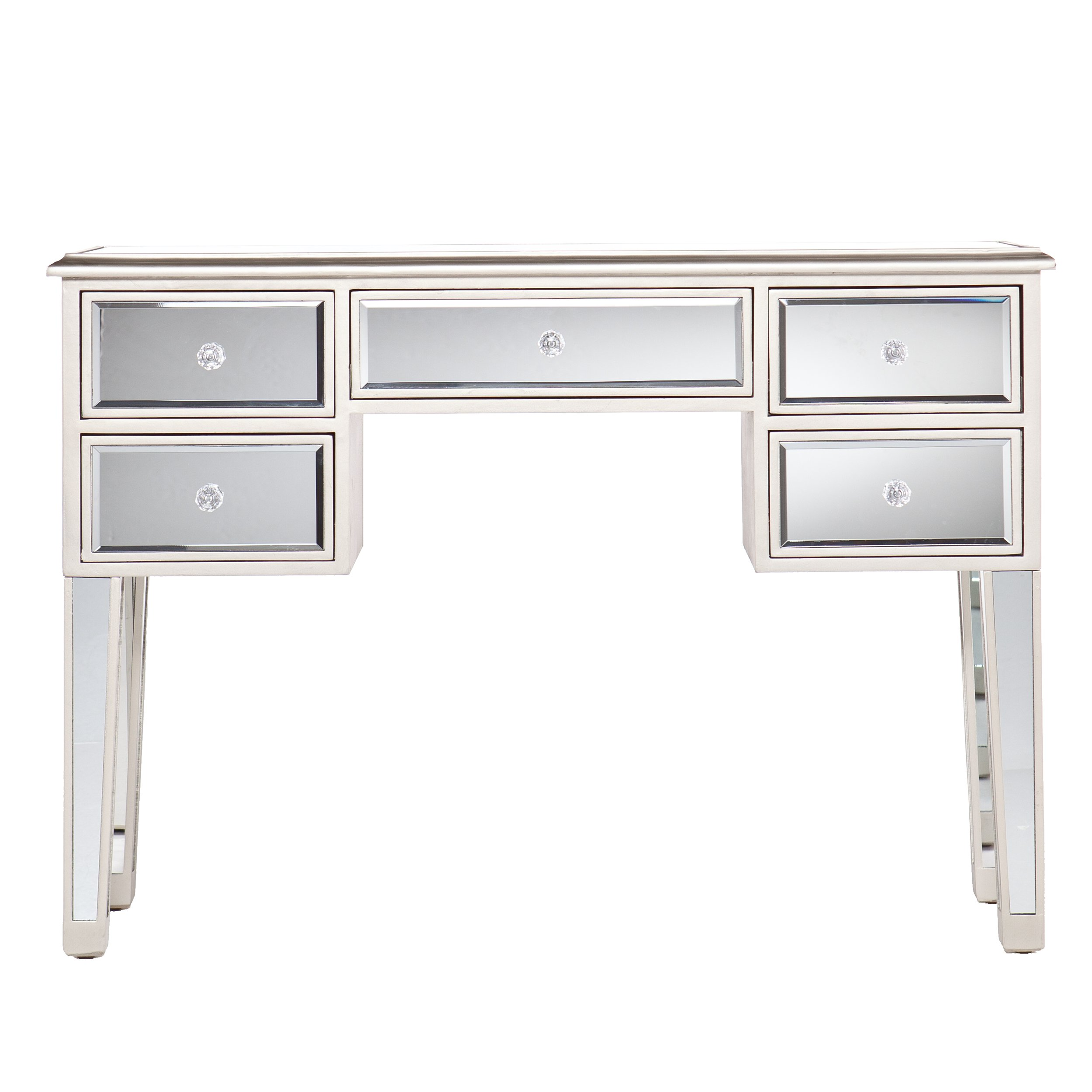 Mirage Mirrored Desk Console Table - Mirror Surface w/ Champagne Trim - Glam Style by Southern Enterprises