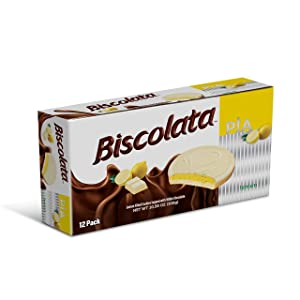 Biscolata Pia Chocolate and Fruit filling Cookies Snacks (Lemon, 12 Pack)