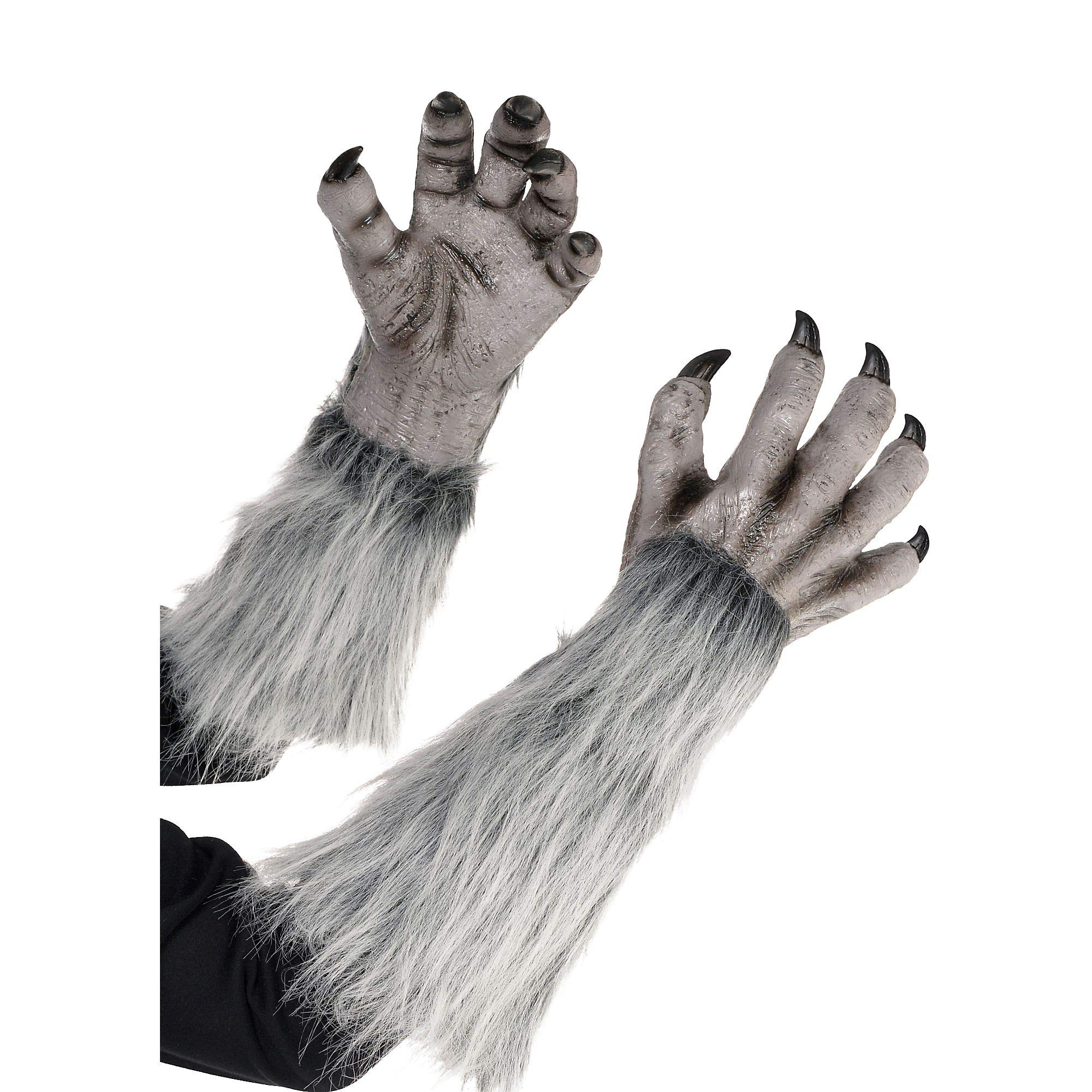 AMSCAN Gray Werewolf Gloves for Halloween Costumes, 18'' by amscan