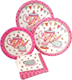 Tea Party Birthday Supply Pack! Bundle Includes Paper Dinner Plates, Dessert Plates & Napkins for 8 Guests