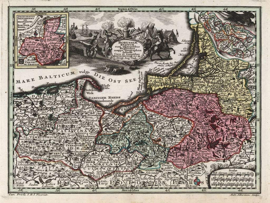 Lais Puzzle Matthauml;us Seutter - Atlas para el Nuevo Entrenador (1744) - Prusia Unido - Serie de Motivos 2000 Piezas