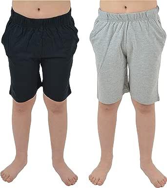 CityComfort Conjunto 2 Pantalones Cortos para niños | Paquete Doble en Azul Marino y carbón o Gris y Negro con Bolsillos para Deportes, Lounge, fútbol, Gimnasio