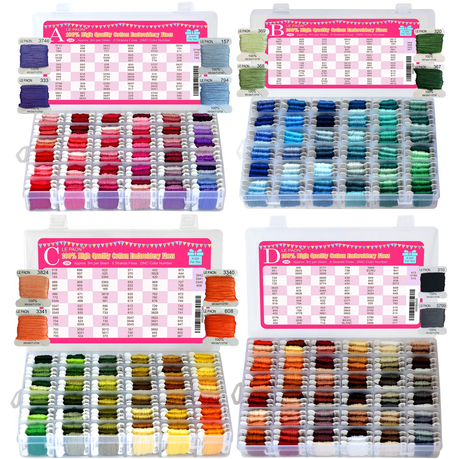 Premium Embroidery Floss & Bracelet String Kits with Organizer Storage Box-447 Colors Cross Stitch Threads Set-Friendship Bracelets Floss-Crafts Floss-Cotton Floss by LE PAON