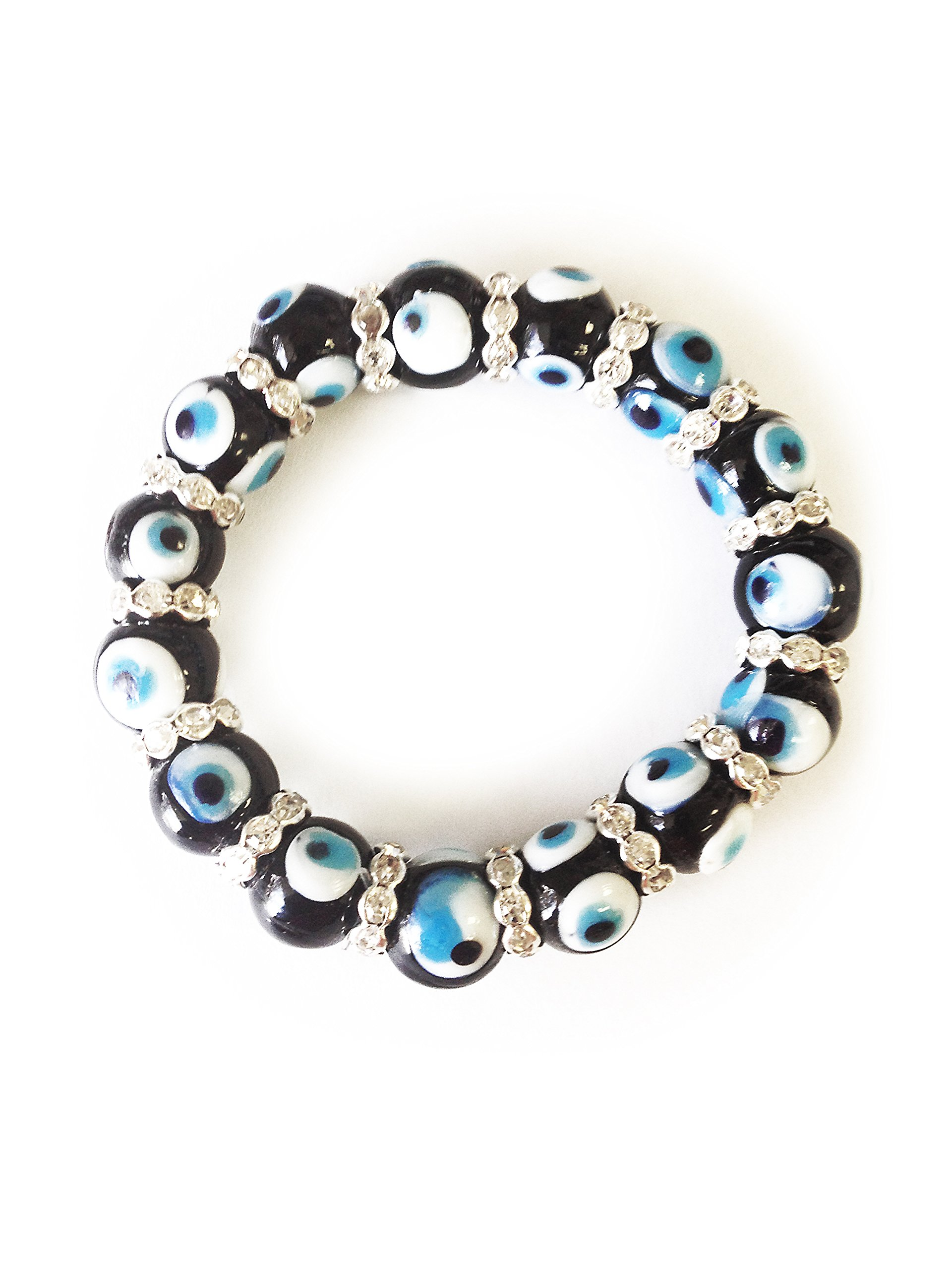 LuckyEye 2734 Bracelet Glass Bead Womens Kabbalah Jewelry for Protection