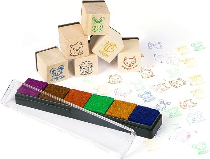Purovi® Pack de 6 Sellos Infantiles | para Curso de Alemán ...