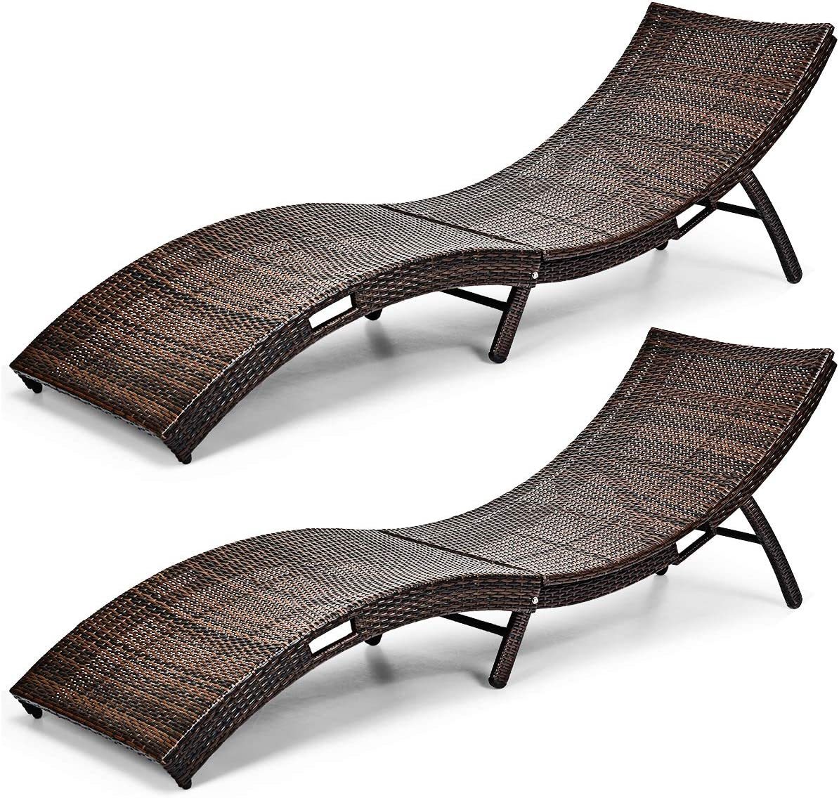 Tangkula Patio Rattan Chaise Lounge, Outdoor Wicker Lounge Chair, Foldable Chaise Lounge, Suitable for Poolside, Garden, Balcony 2, Brown