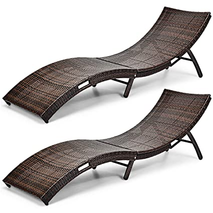 Tremendous Tangkula Patio Rattan Chaise Lounge Outdoor Wicker Lounge Chair Foldable Chaise Lounge Suitable For Poolside Garden Balcony 2 Brown Inzonedesignstudio Interior Chair Design Inzonedesignstudiocom