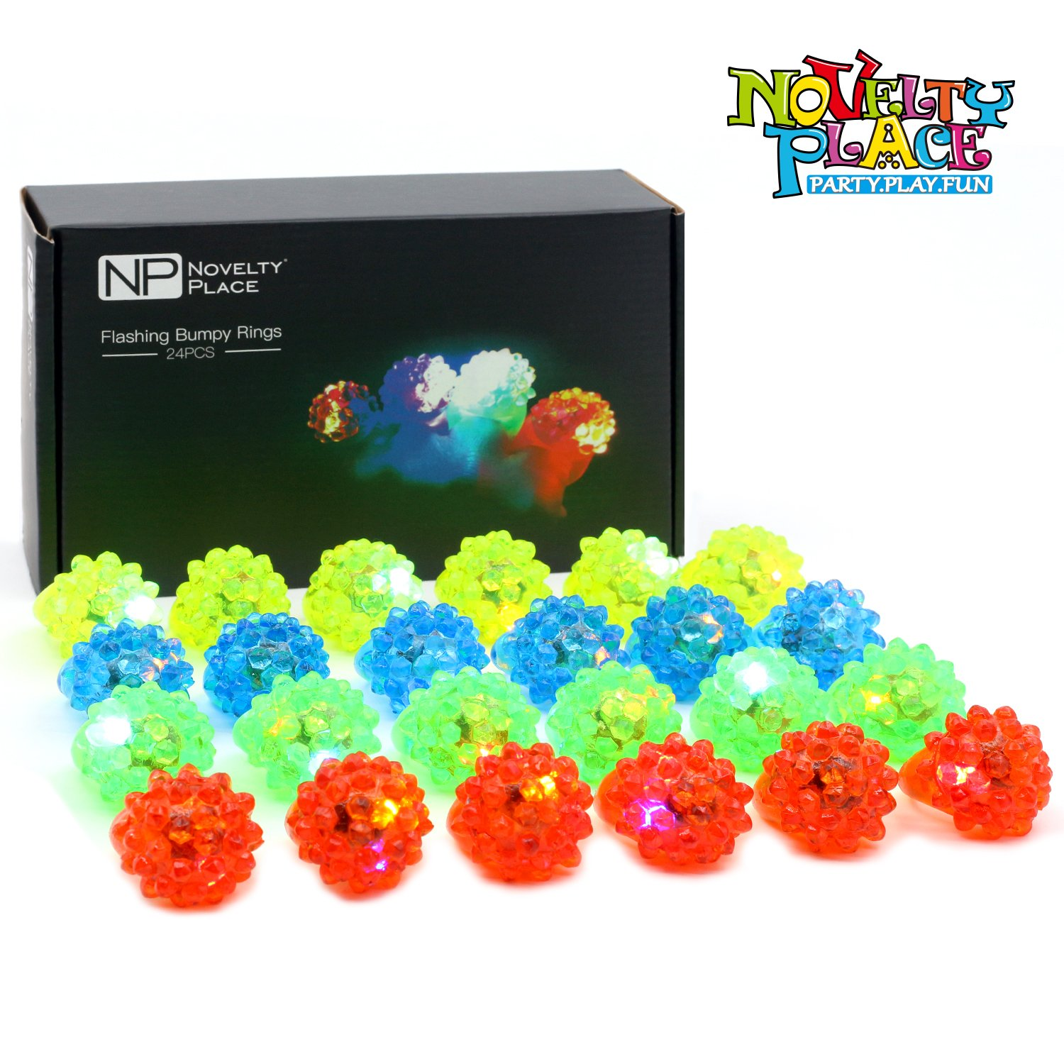 Novelty Place Party Stars Flashing LED Bumpy Jelly Ring Light-Up Toys (24 Pack) by Novelty Place (Image #7)