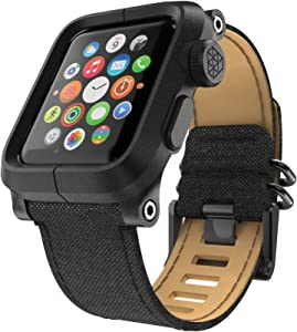 LUNATIK EPIK Polycarbonate Case and Canvas Strap for Apple Watch Series 1, Black/Black