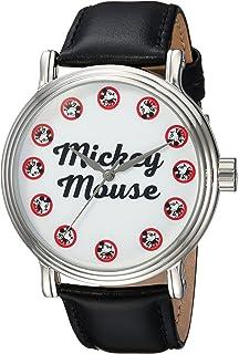 DISNEY Mens Mickey Mouse Quartz Metal Casual Watch, Color:Black (Model: