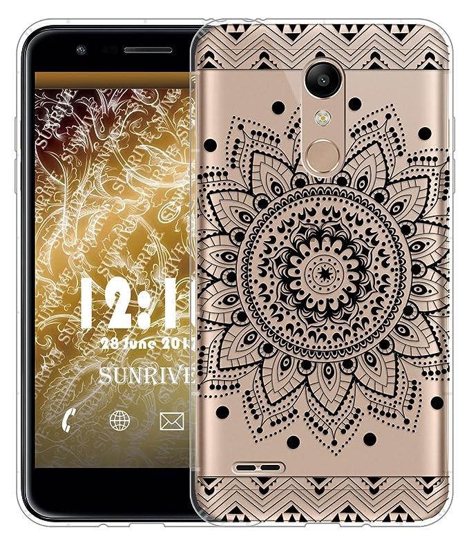 Sunrive Funda para LG K11, Silicona Slim Fit Gel Transparente Carcasa Case Bumper de Impactos y Anti-Arañazos Cojín de Aire Espalda Cover(TPU Flor ...