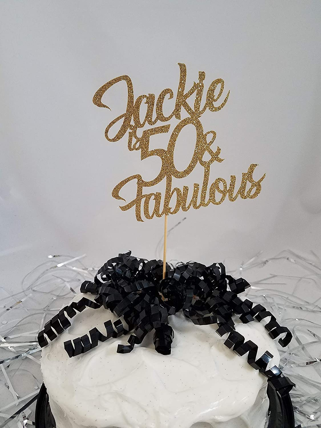 Any Year Cake Toppers 1 Personalized Glitter Happy 30th 40th 50th Centerpiece Sticks Any Name 50th Birthday Party Decorations