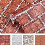 Coavas Brick Wallpaper 17.7x196.9 Inch Stick and Peel Paper Decorative Halloween Self-Adhesive Christmas Faux Brick…