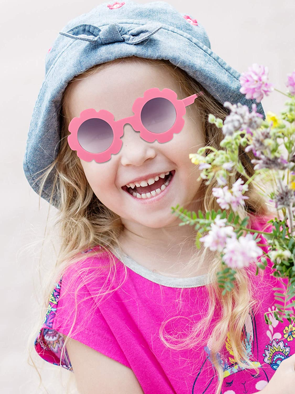 Weewooday 8 pezzi occhiali da sole per bambini carino occhiali da sole rotondi occhiali da sole a forma di fiore per le ragazze dei ragazzi accessori per feste