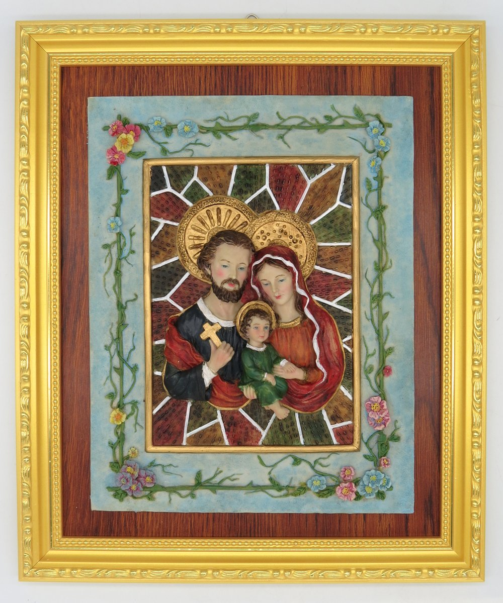 GGCI Hand Painted Resin Plate Décor Resin Cameo Sculpture Statue Figure and wooden frames Nativity Holy Family