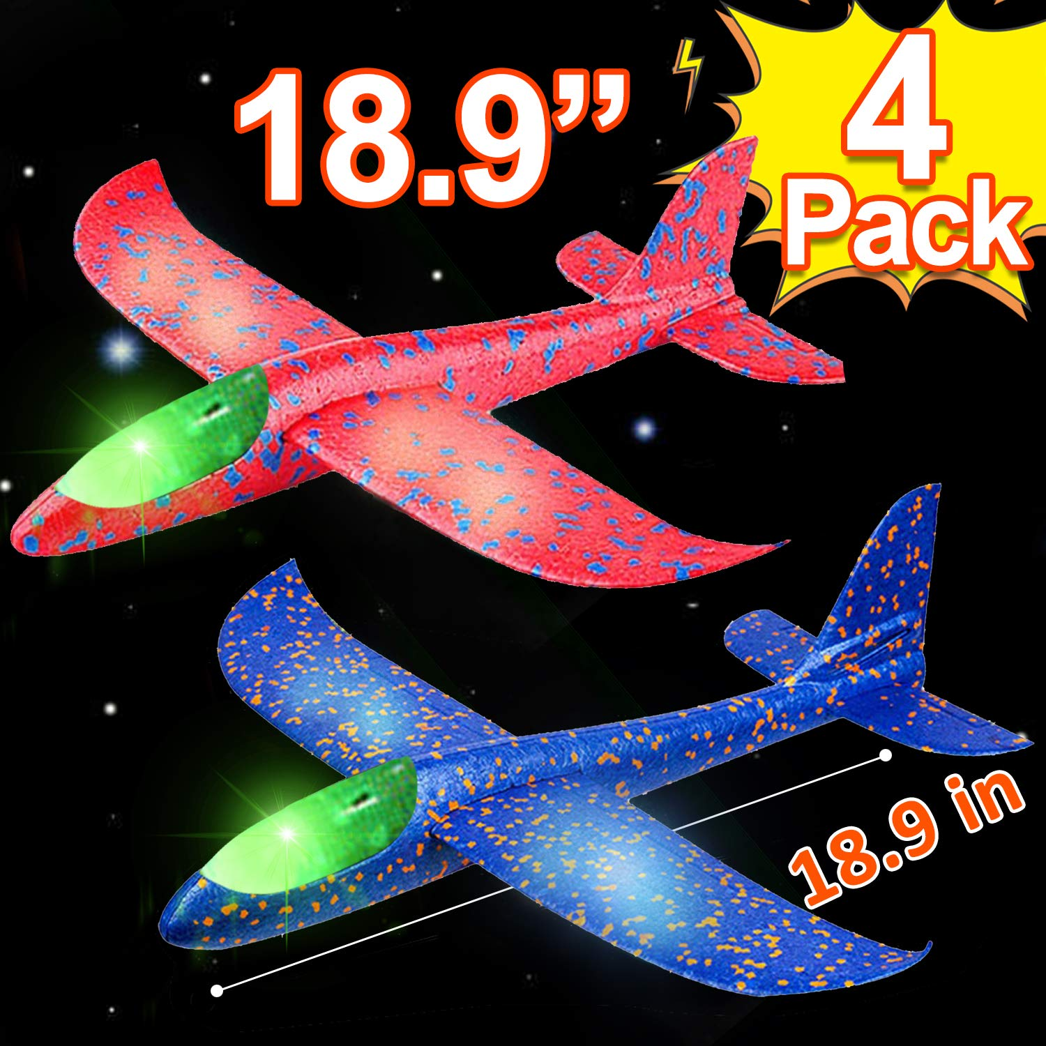 4 Pack 18.9'' Large Throwing Foam Airplane Toys with Dual Flight Mode LED Light Up Glider Planes Flying Aircraft Gifts for Kids 3 4 5 6 7 Year Up Boy Girls Toddlers Outdoor Sport Game Toys
