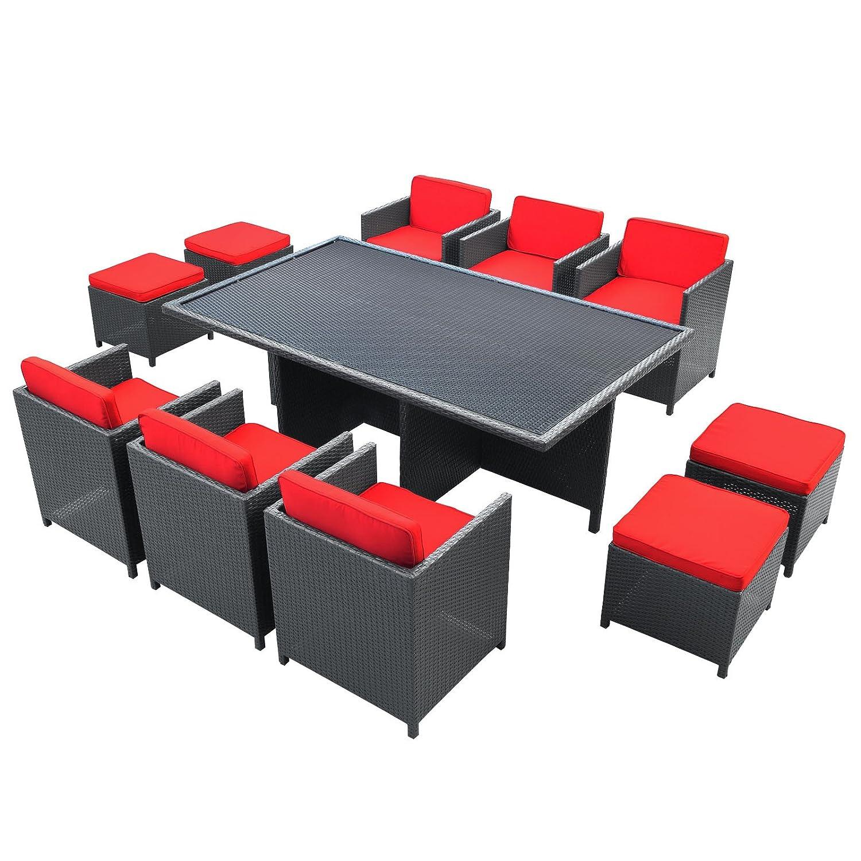 amazoncom lexmod evo outdoor 11piece dining set espresso with red cushions patio sofas garden u0026 outdoor