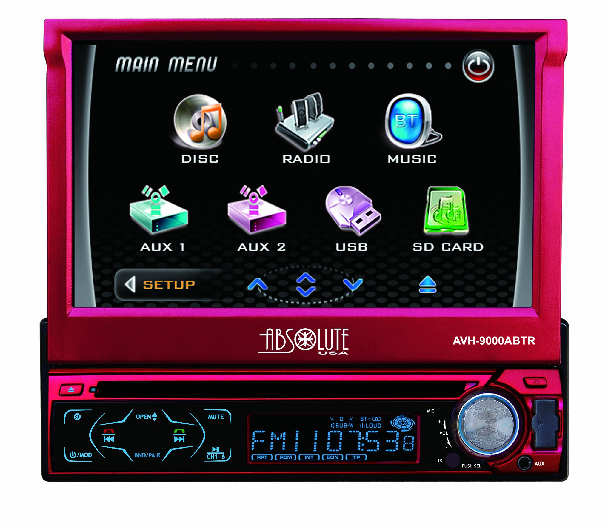 Absolute USA AVH9000ABTR In-Dash Multimedia DVD Player Receiver (Red)