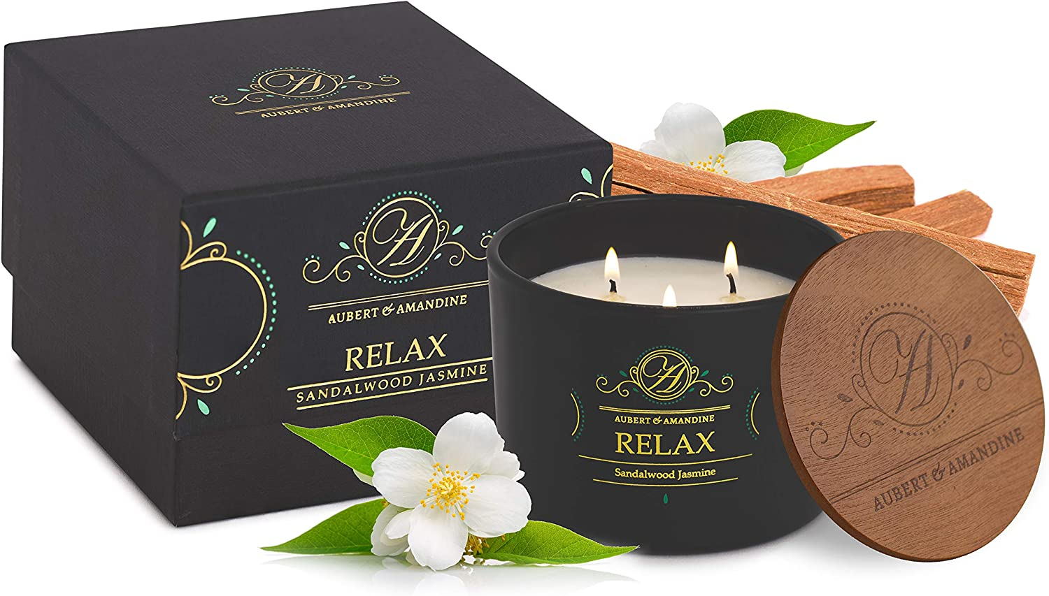 Luxury Scented Soy 3 Wick Candle for Stress Relief & Relaxation High Intensity Aromatherapy (Relax - Sandalwood Jasmine Candle)