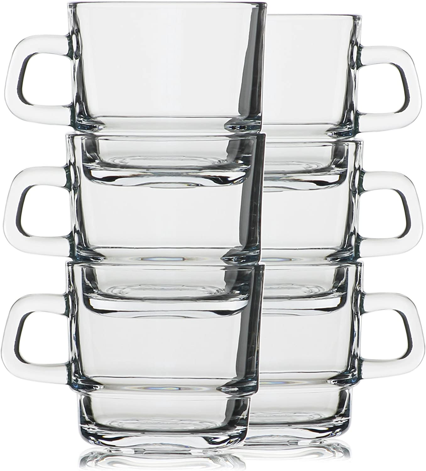 Hikari 7oz Espresso / Tea Stackable Glass Cups; Keeps Beverages Hot. Perfect for Nespresso, Coffee, Cappuccino or Any Other Short Drinks, Set of 6 (Gift Boxed)