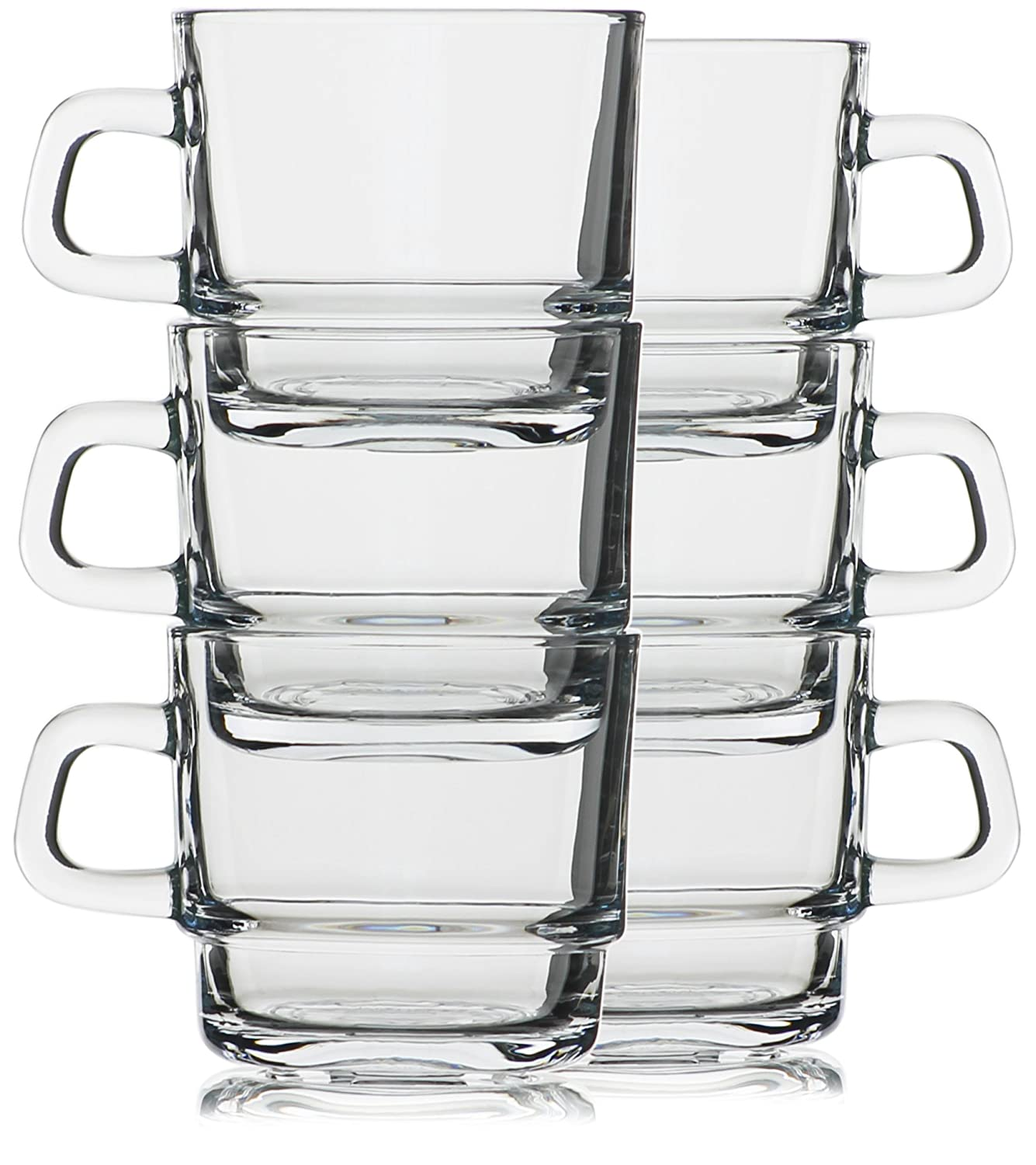 Hikari 7oz Espresso/Tea Stackable Glass Cups; Keeps Beverages Hot. Perfect for Nespresso, Coffee, Cappuccino or Any Other Short Drinks, Set of 6 (Gift Boxed)