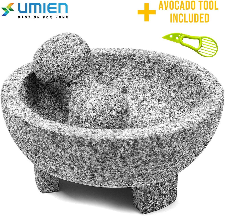 Granite Mortar and Pestle Set guacamole bowl Molcajete 8 Inch - Natural Stone Grinder for Spices, Seasonings, Pastes, Pestos and Guacamole - Extra Bonus Avocado Tool Included