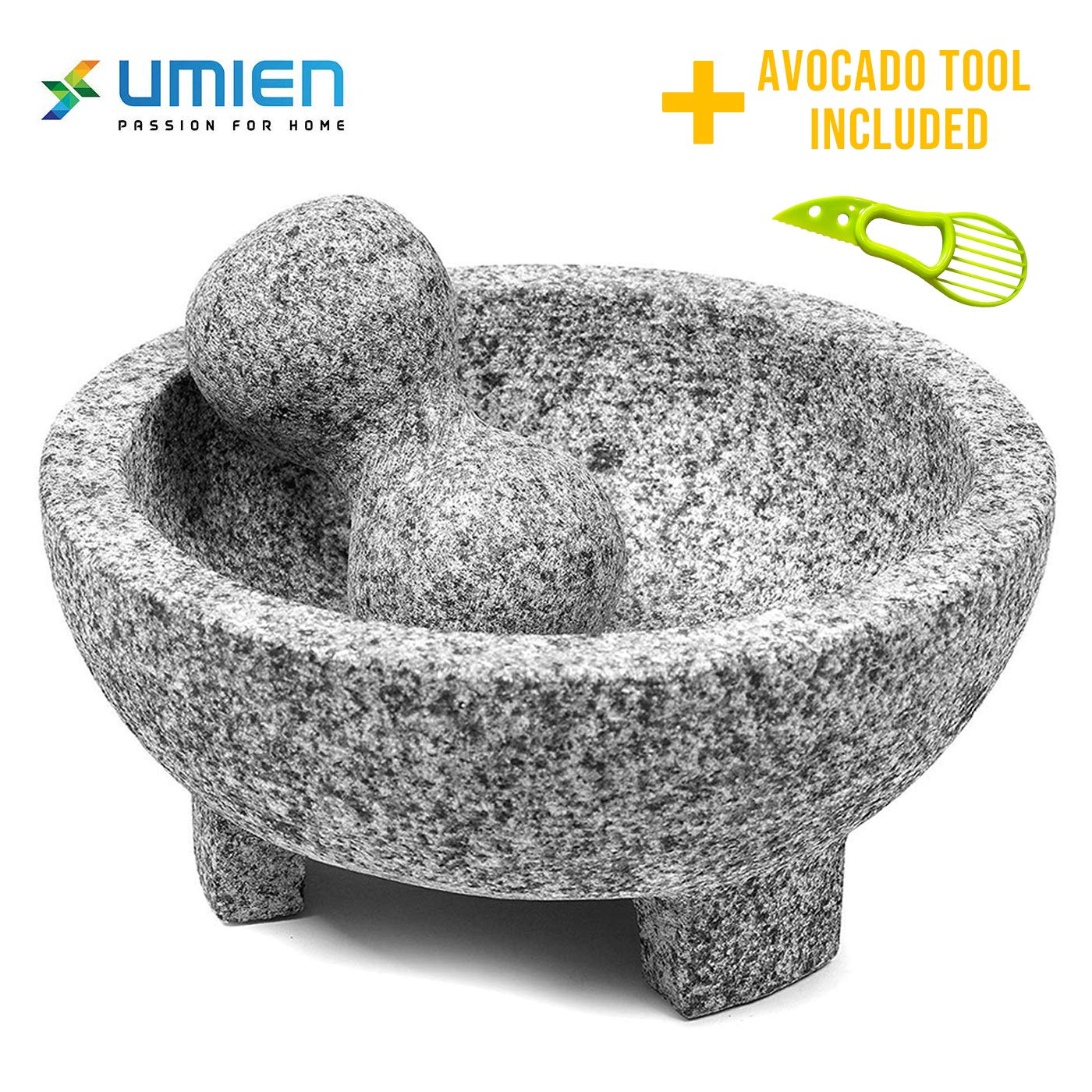 Granite Mortar and Pestle Set guacamole bowl Molcajete 8 Inch - Natural Stone Grinder for Spices, Seasonings, Pastes, Pestos and Guacamole - Extra Bonus Avocado Tool Included by umien