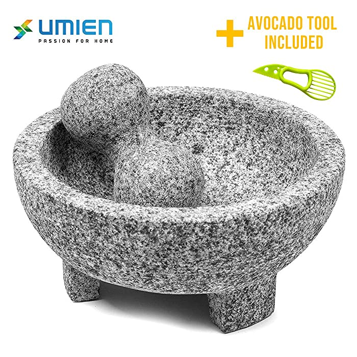 Granite Mortar and Pestle Set Molcajete - Natural Stone Grinder for Spices, Seasonings, Pastes, Pestos and Guacamole - Extra Bonus Avocado Tool Included