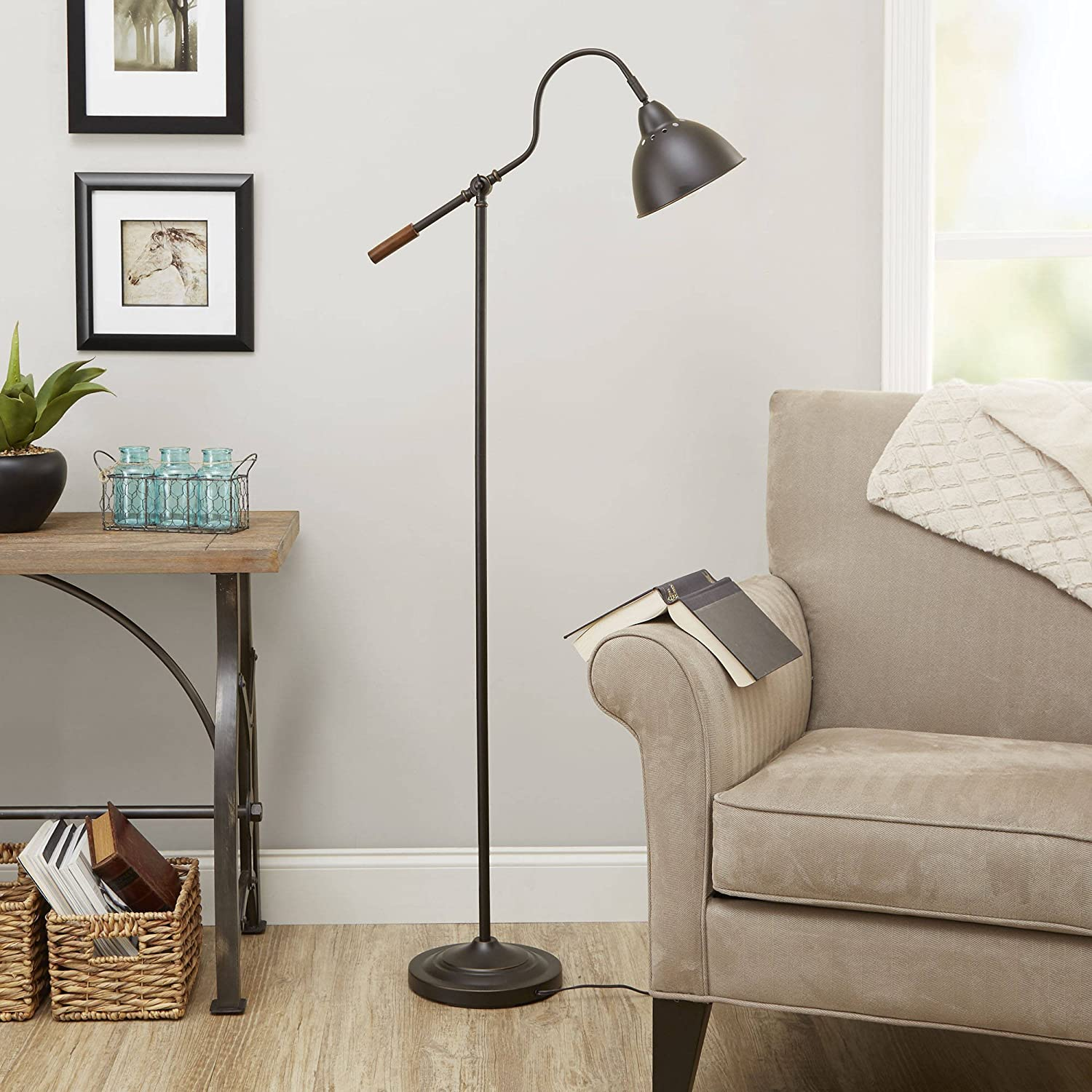 60 Inch Classis Style Dome Shade Task Floor Lamp with Adjustable Arm Bronze Finish For Cozy Reading Corner