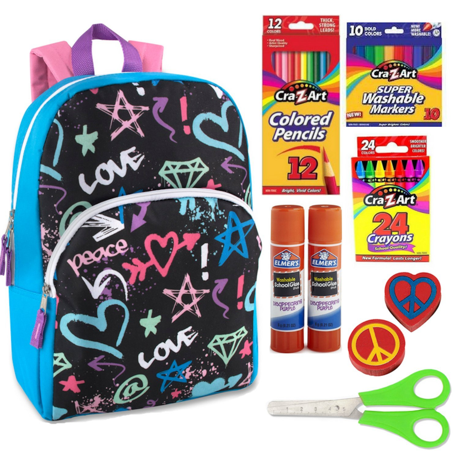 Peace Love Kids Backpack for girls or boys. 55 Count School Crafts Supplies Bundle.