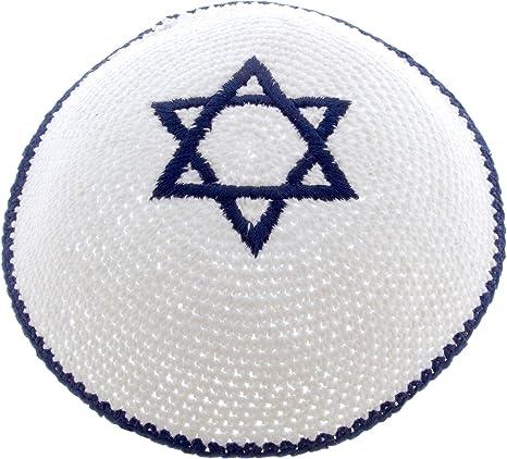 Kipá de Punto Blanco Judío Israelí Judeo Kipa Con Estrella de David