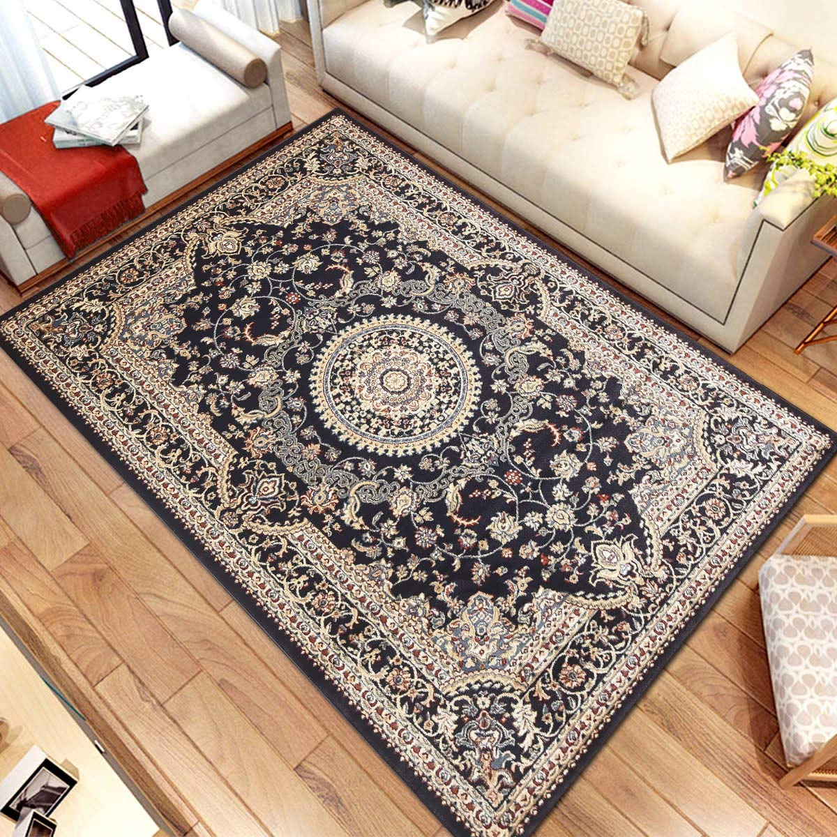 Msrugs Traditional Oriental Medallion Navy Beige Area Rug Persian Style Rug