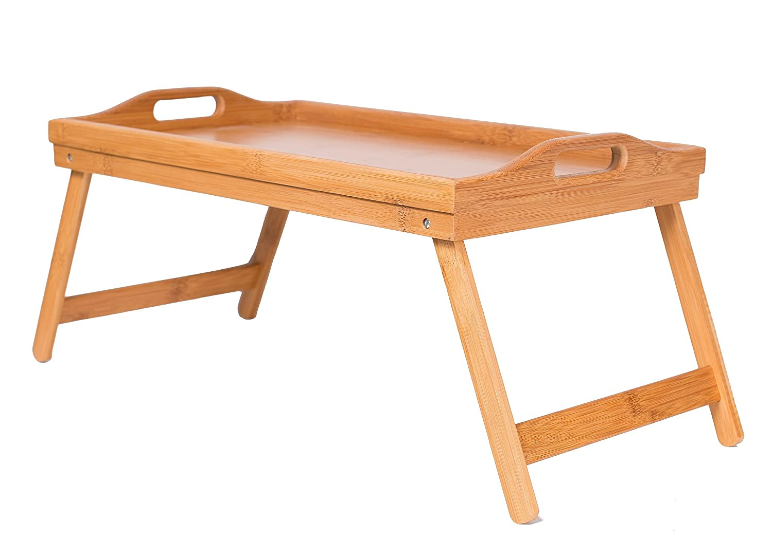 BirdRock Home Bamboo Lap Desk Bed Tray | Handles | Foldable Breakfast Serving Tray | Pull Down Legs | Laptop Stand | Natural 8028