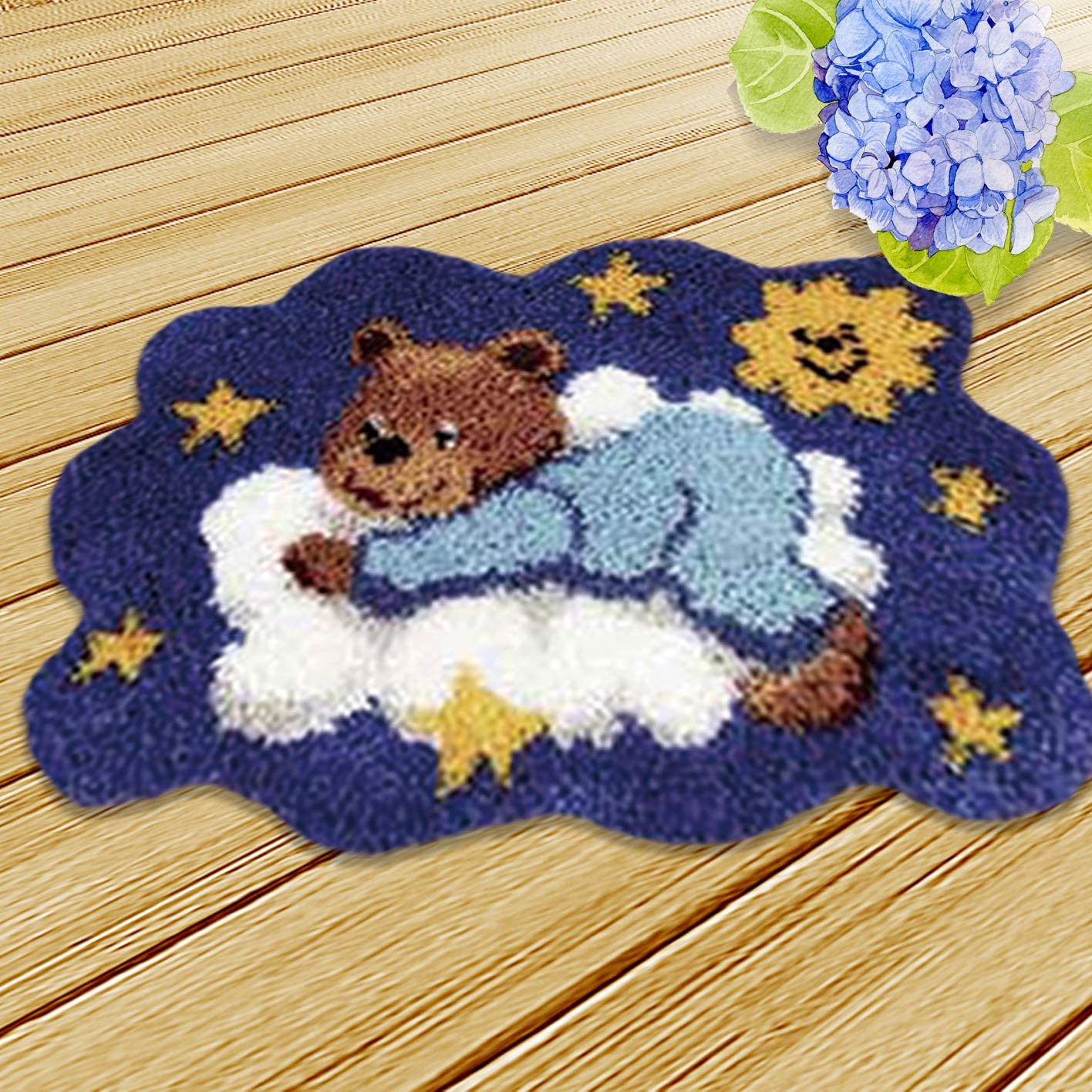 Onebook Animal Pattern Carpet Cushion Latch Hook Kits with Basic Tools DIY Home Ornaments,Making Latch Hooking Kit,Dog Latch Hook Kits Needlework Unfinished Rug,1 Set