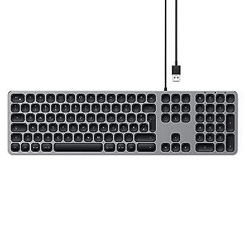 SATECHI Teclado con Cable USB de Aluminio con Keypad Numérico Compatible con iMac - 2017 iMac, iMac Pro, 2016 iMac y más (Alemán, Gris Espacial)
