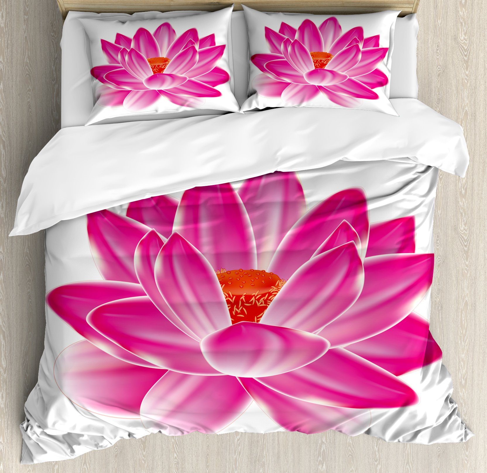Lotus Duvet Cover Set King Size by Ambesonne, Vibrant Lotus Flower Pattern Spa Zen Yoga Asian Balance Energy Lifestyle Artsy Image, Decorative 3 Piece Bedding Set with 2 Pillow Shams, Magenta Red