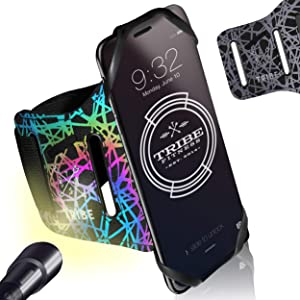 TRIBE Reflective Running Phone Holder Sports Armband. iPhone Cellphone Arm Band for Women & Men, Runners, Jogging, Walking, Cycling, Exercise. 360° Rotation & Detachable Case for iPhone, Galaxy & More