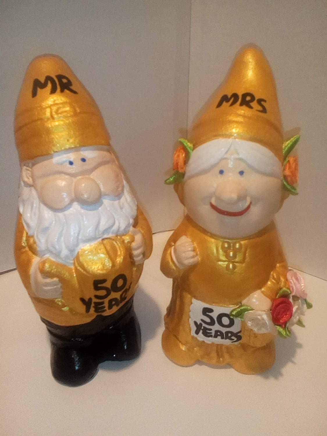 50TH GOLDEN WEDDING ANNIVERSARY MR AND MRS GNOME FIGURINES. GREAT UNIQUE GIFT. FREE PERSONALISATION tt gifts