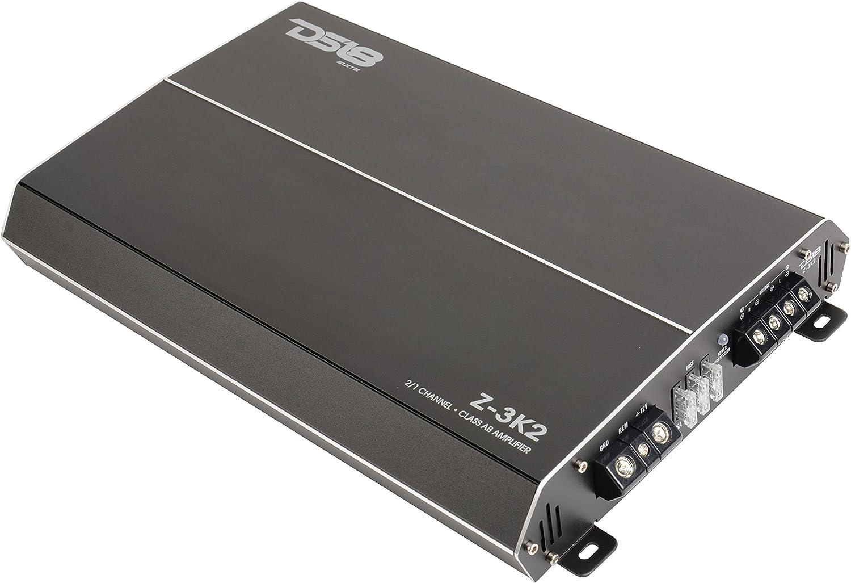 Car Audio Amp for Subwoofer and Door Speakers Heavy Duty Heatsink 1000 Watts Max Digital 2 Channels DS18 Elite Z-1K2 Car Audio Amplifier in Black MOSFET 2//4 Ohm Class AB