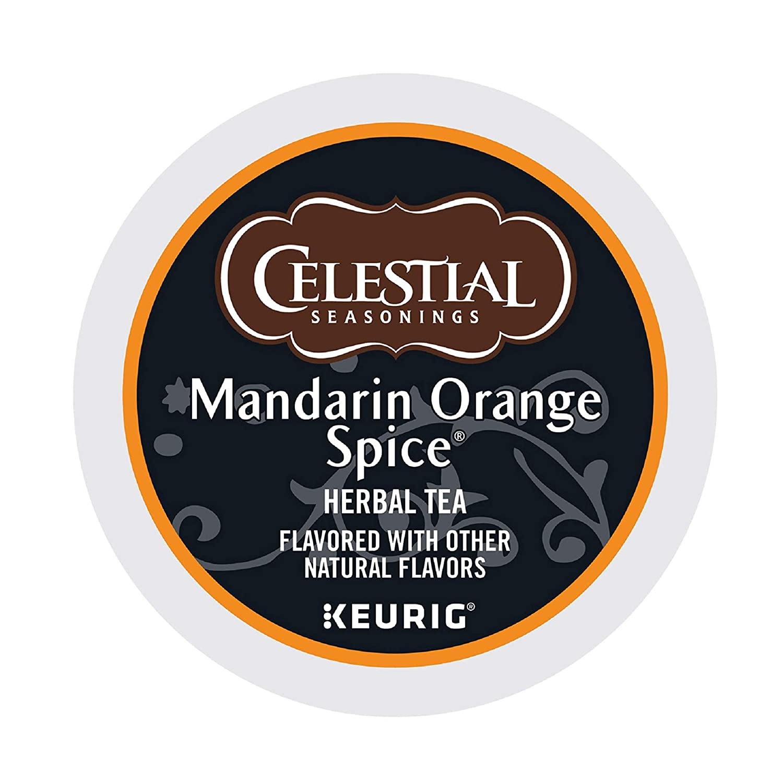 Celestial Seasonings Mandarin Orange Spice Herbal Tea, Single-Serve Keurig K-Cup Pods, 96 Count