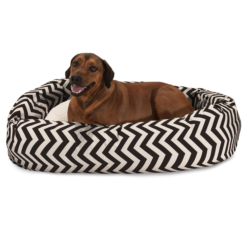 Black 52-inch Black 52-inch Majestic Pet 52 inch Black Chevron Sherpa Bagel Dog Bed