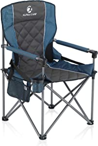 ALPHA CAMP Oversized Camping Folding Chair Padded Quad Arm Chair Heavy Duty Support 450 LBS Oversized Steel Frame Collapsible Lawn Chair with Cup Holder Quad Lumbar Back Chair Portable for Outdoor