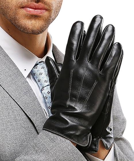 HARRMS Herren Leder Winter Handschuhe Touch Screen f/ür Smartphone Geschenkverpackung Warm Gef/üttert mit F/ütterung M/änner F/äustlinge Lederhandschuhe F/ür Fahren Motorrad Radfahren Schwarz//Braun