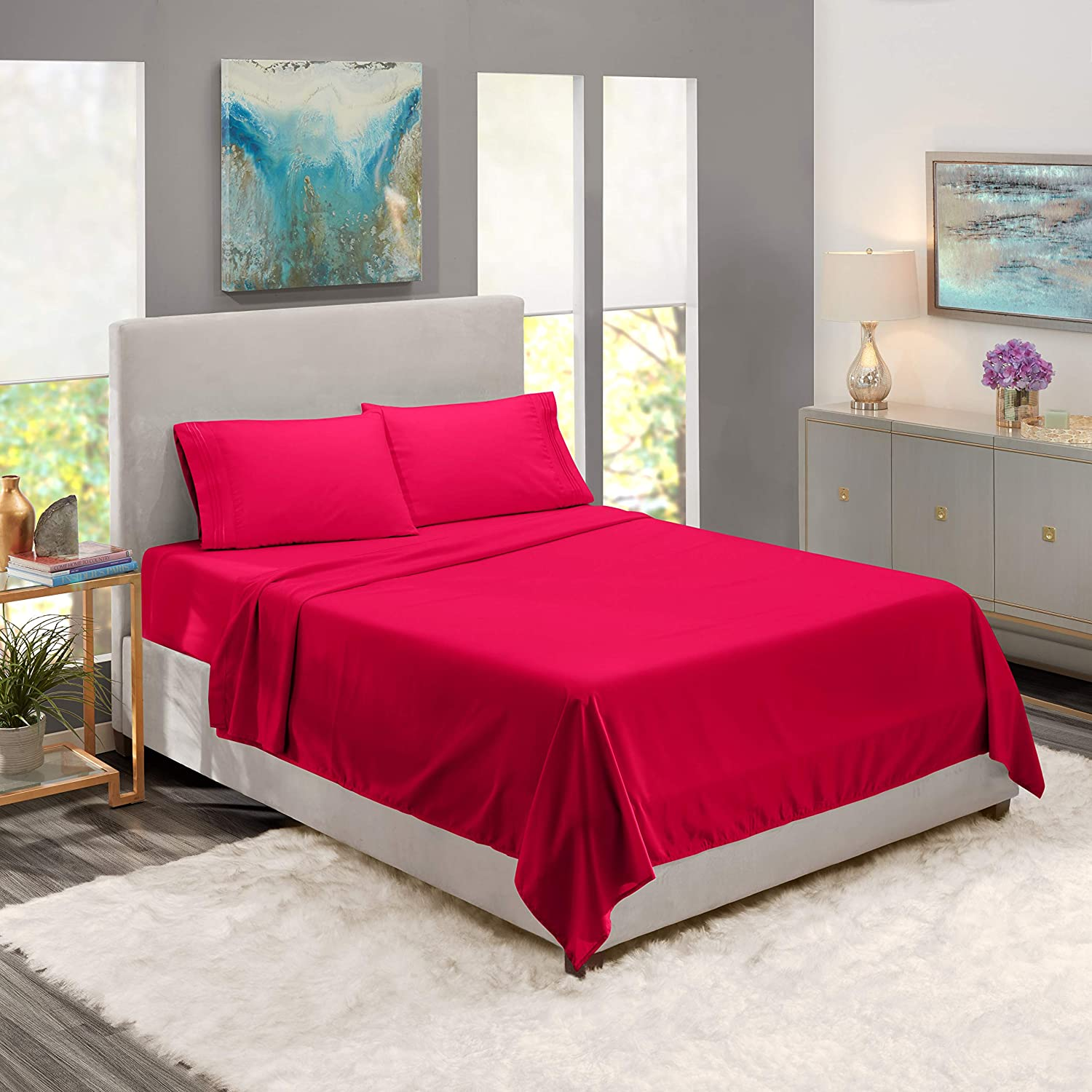 Buy Full Hot Pink Bed Sheet Bedding Set 100 Soft Brushed Microfiber With Deep Pocket Fitted Sheet Full Hot Pink 1800 Luxury Bedding Collection Hypoallergenic Wrinkle Free Bedroom Linen Set By Nestl Bedding Online At Low Prices In