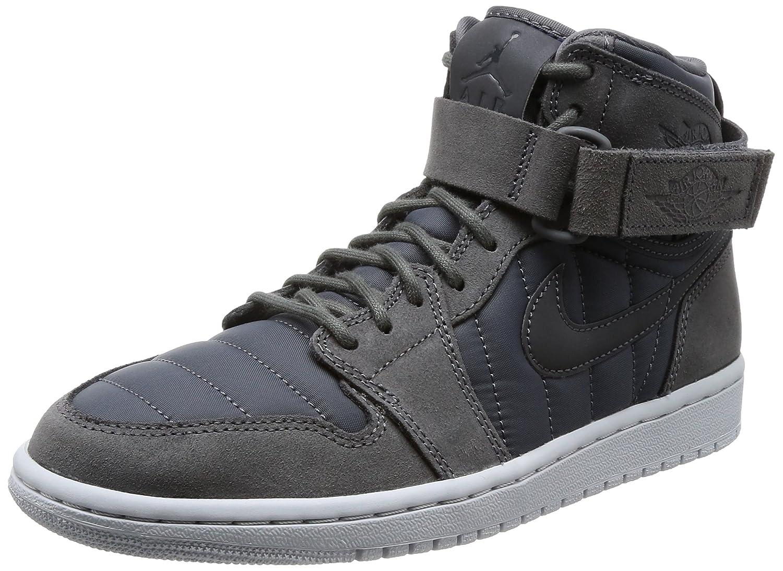 Nike Air Jordan 1 High Strap, Zapatos de Baloncesto para Hombre 45.5 EU|Negro (Dark Greydark Greypure Platinum)