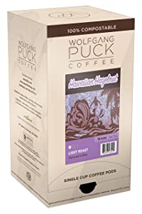 Wolfgang Puck Coffee, Hawaiian Hazelnut Coffee, 9.5 Gram Pods, 18 Count