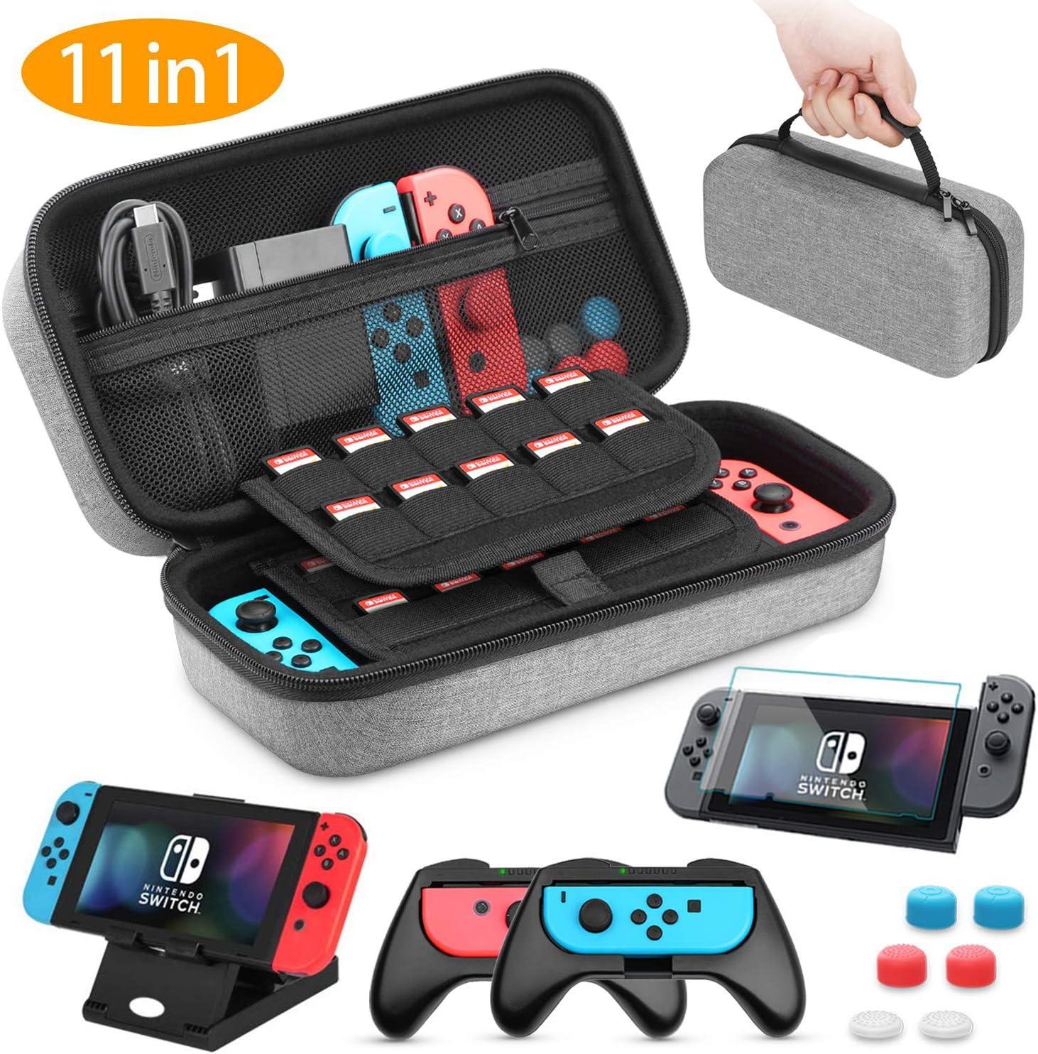 Funda para Nintendo Switch, HEYSTOP 11 en 1 Nintendo Switch Estuche Portátil, 2 Joy-Con Grips para Nintendo Switch, PlayStand Ajustable, Protector de Pantalla con 6 Tapas de Agarre para Pulgar (Gris): Amazon.es: Electrónica