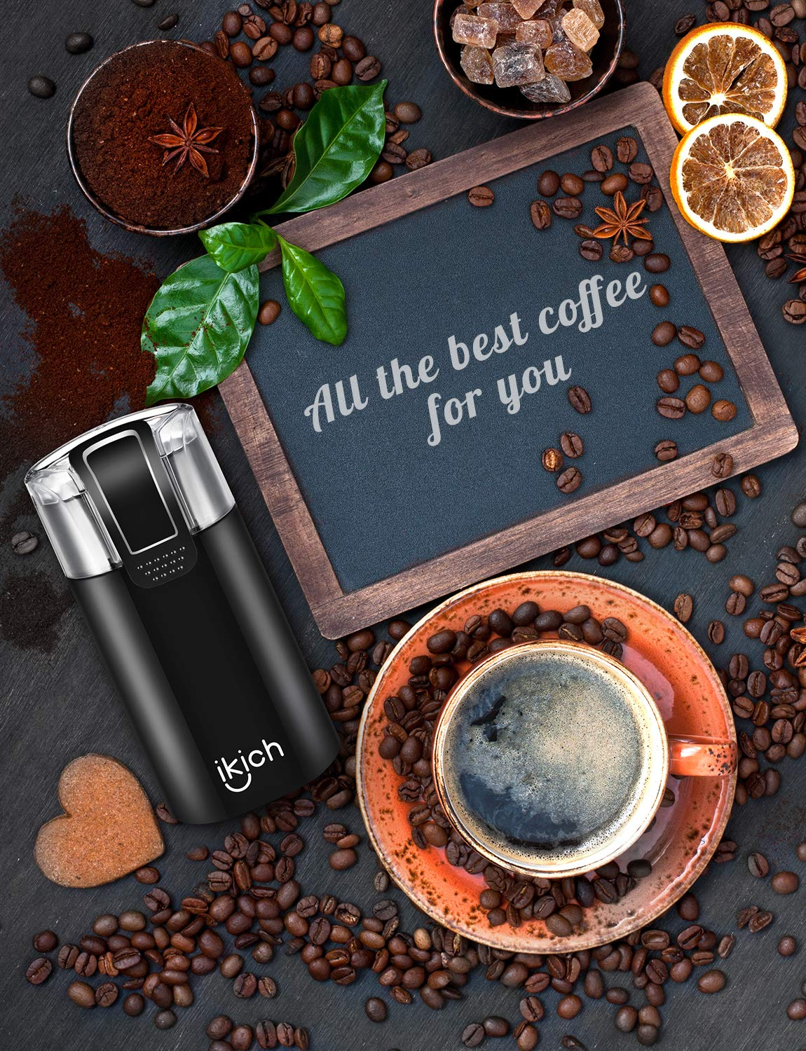 Coffee Grinder Electric, IKICH 120V Powerful Blade Coffee Bean&Spice Grinder with 12 Cups Large Grinding Capacity, Cord Storage, Portable, Also for Spices, Pepper, Nuts, Seeds, Grains by IKICH