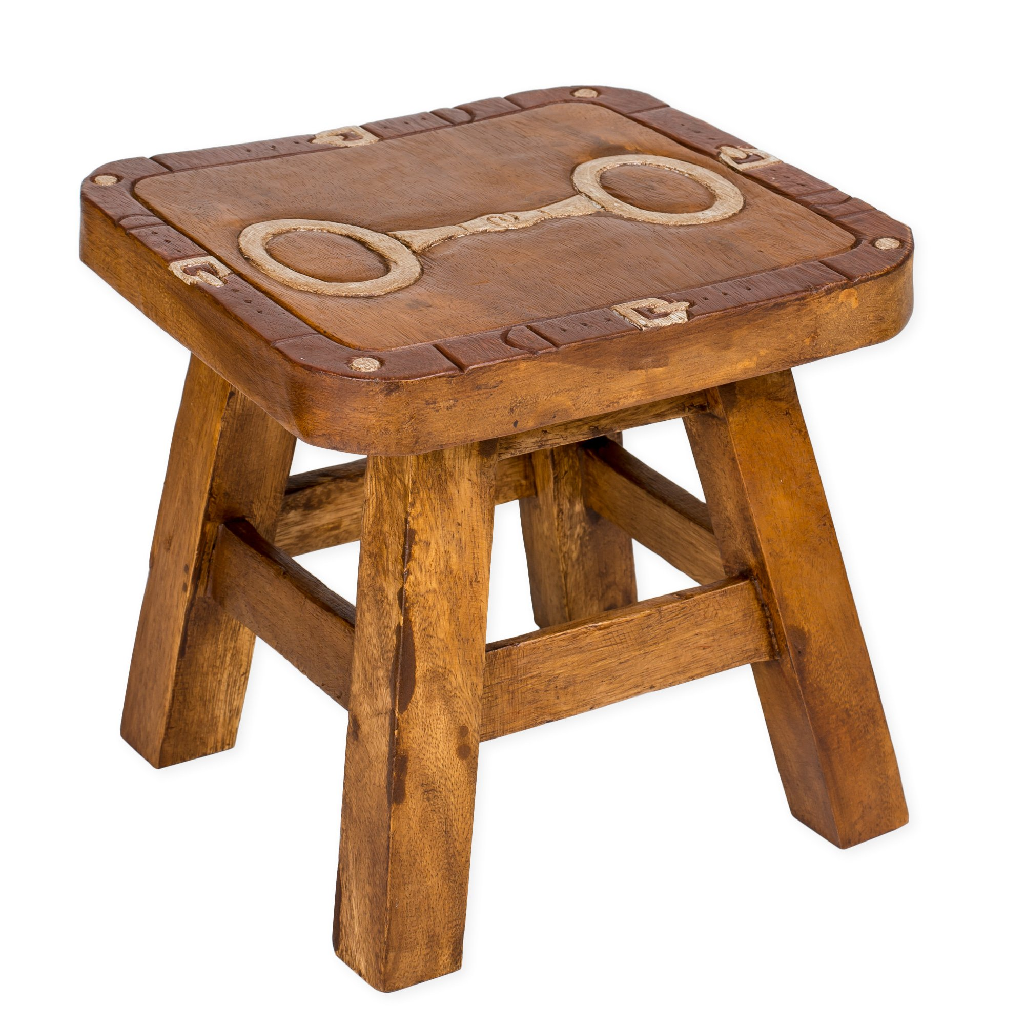 Horse Snaffle Bit Hand Carved Acacia Hardwood Decorative Short Stool