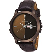 Swisstone BRW385-BRWN Brown Leather Strap Wrist Watch for Men